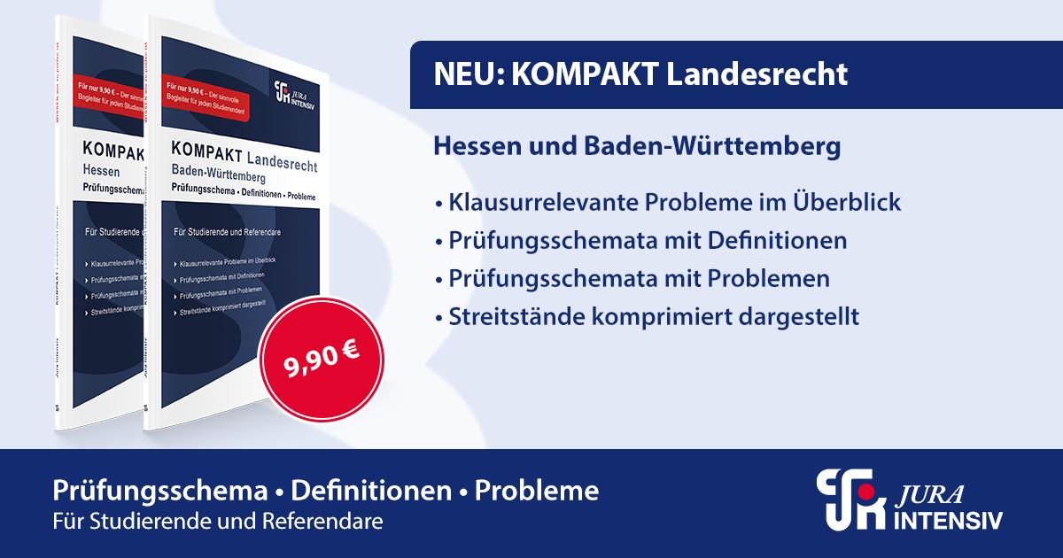 Jura Intensiv - Jura Intensiv - Neuerscheinung KOMPAKT Landesrecht - Hessen und Baden-Württemberg